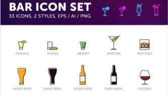 Иконки на тему напитков в векторном формате